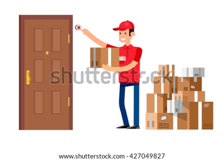 Funny Delivery character man fast to the door and by delivery courier flat set - stock vector