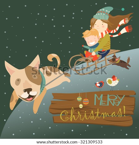 Funny dog pulling sledge with children. Vector illustration - stock vector