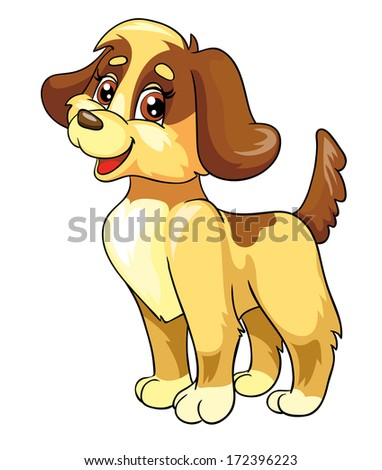 funny dog, vector illustration on white background - stock vector