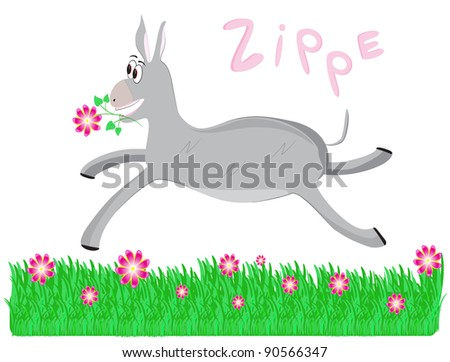 funny donkey in the meadow - stock vector