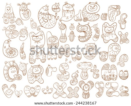 Funny doodle cartoon alphabet, animal letters - stock vector