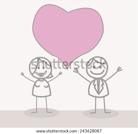 Funny Doodle : Love Couple - stock vector