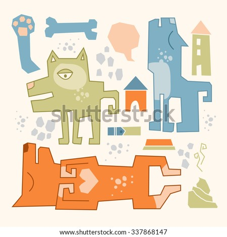 Funny doodles dogs. Three dogs in a different situations with a set of dogs stuff on the background. - stock vector