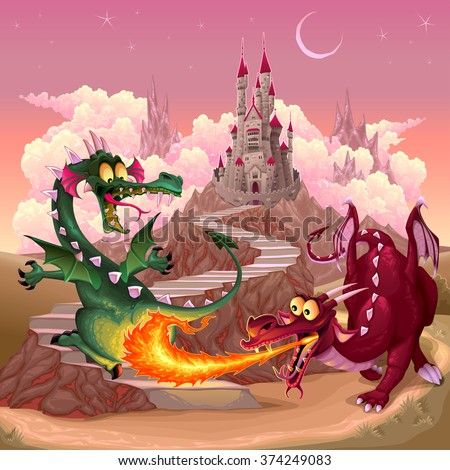 Funny dragons in a fantasy landscape with castle. Cartoon vector illustration - stock vector