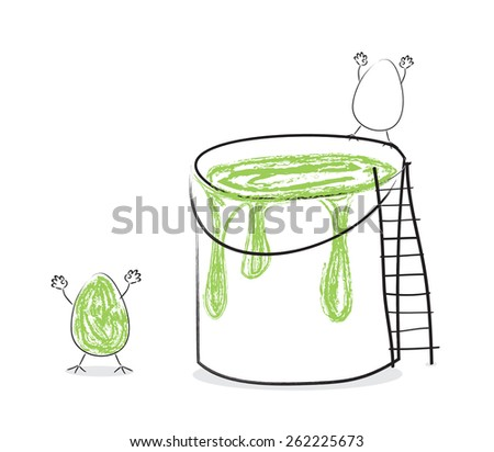 Funny Easter eggs with paint in the bucket - stock vector