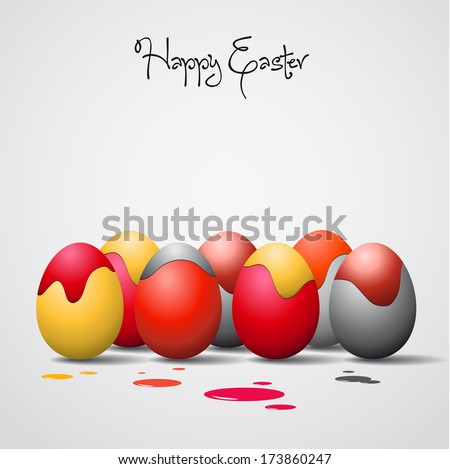 Funny Easter eggs with stains, color theme - stock vector