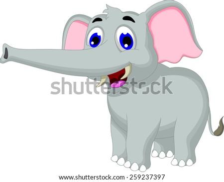 funny elephant cartoon posing for you design - stock vector