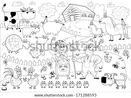 Funny farm family in black and white. Cartoon  vector illustration.  - stock vector