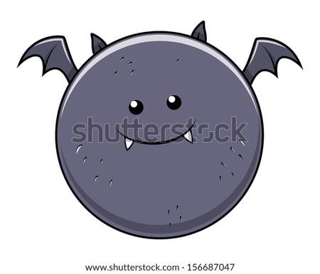 funny fat bat - Halloween vector illustration - stock vector