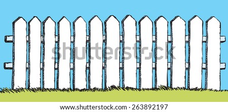 Funny fence from flat slats, painted in white paint, enclosing garden with lush grass. Vector color freehand ink drawn backdrop sketchy in scrawl style of pen on paper with space for text on blue sky - stock vector