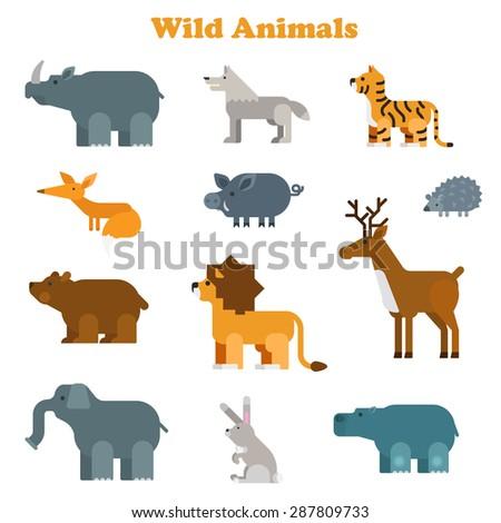 Funny flat kid style happy wild animals icon set. Rhino wolf tiger fox boar lion giraffe elk hedgehog bear elephant rabbit hippo. Zoo animal web infographic collection. - stock vector