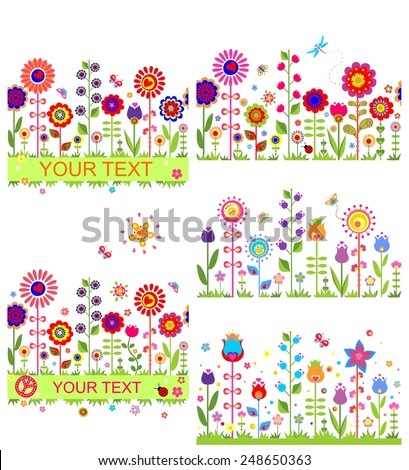 Funny floral borders with abstract flowers - stock vector
