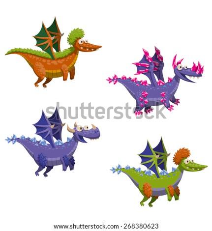 Funny flying dragon set, vector - stock vector