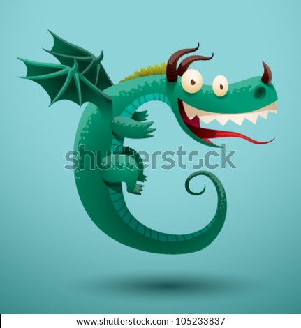 Funny flying dragon 5, vector - stock vector