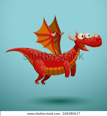 Funny flying dragon, vector - stock vector