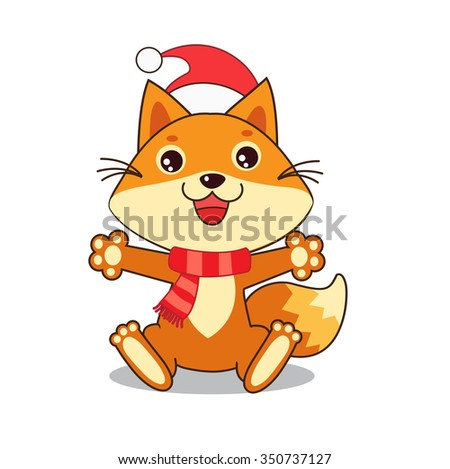 Funny Fox Wished A Happy New Year. Christmas Characters. Small Fox. Vector Fox. Fox Sitting. Vector Illustration. Fox In Winter. Small Fox Plush. Small Fox Stickers. Small Fox Toy. Small Fox Pet. - stock vector