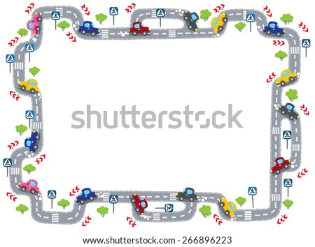 Funny frame or border of  roads, grass areas and cars. Children vector illustration. - stock vector