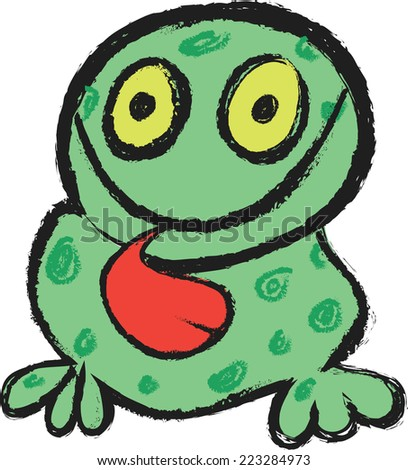 funny frog - stock vector