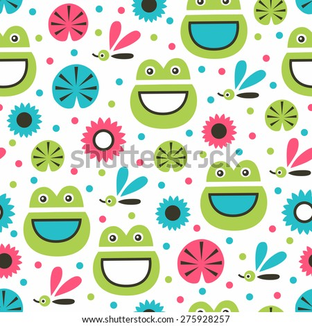 Funny frog seamless pattern. Vector illustration. - stock vector