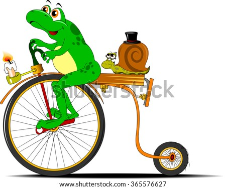 funny frog traveling on the old bike, vector - stock vector