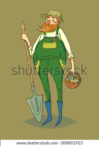 Funny Gardener character. Isolated vector character. - stock vector