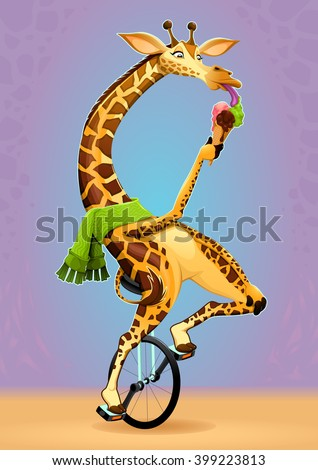 Funny giraffe on an unicycle. Vector cartoon illustration - stock vector