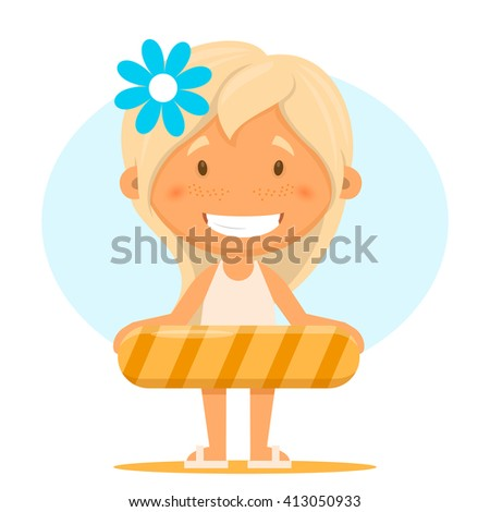 Funny girl in a bathing suit. Vector illustration on the theme of the summer and relaxing on the beach - stock vector