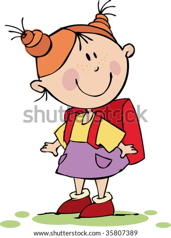 Funny girl with a school bag - stock vector