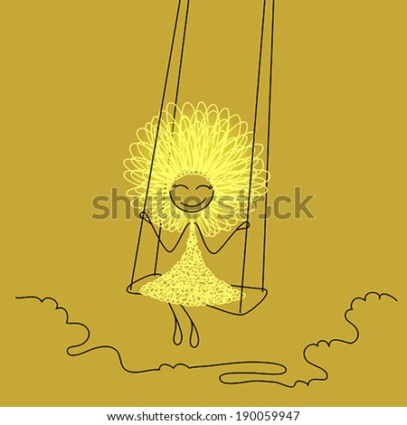 Funny girl with fluffy hairs on swing - stock vector