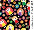 Funny girls pattern - stock vector