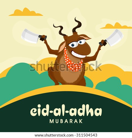 Funny goat holding cleaver knife in both hands on cloudy background for Islamic Festival of Sacrifice, Eid-Al-Adha celebration. - stock vector