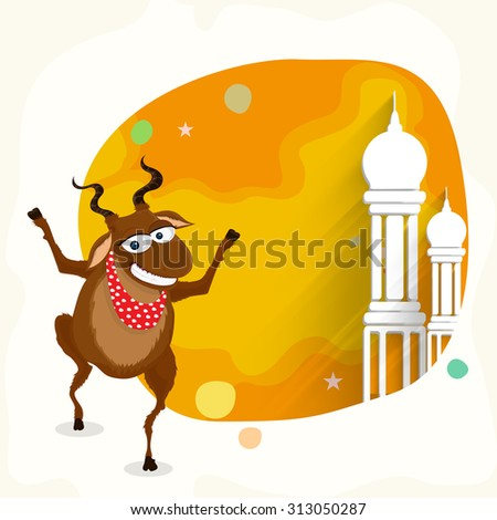 Funny goat with mosque in stylish frame for Islamic Festival of Sacrifice, Eid-Al-Adha celebration. - stock vector