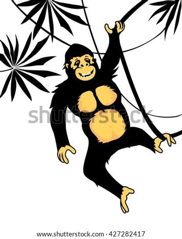 Funny gorilla - stock vector