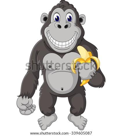 Funny gorilla cartoon of illustration  - stock vector