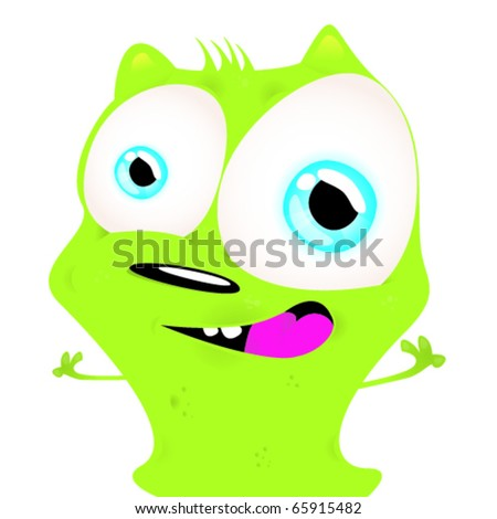 Funny green creature - stock vector