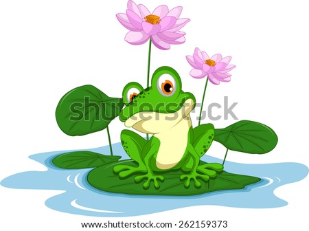 funny Green frog cartoon sitting on a leaf  - stock vector