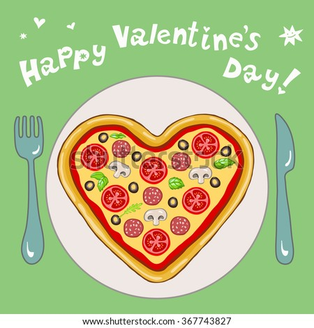 Funny Greeting Card Happy Valentine's Day, pizza in the shape of a heart on a plate on green background - stock vector