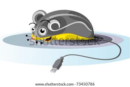 funny grey electronic mouse with usb plug - stock vector