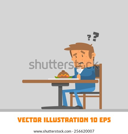 Funny guy at the table. Vector illustration - stock vector