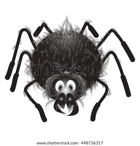 Funny hairy black spider on white background. Vector Halloween spider. Cute cartoon spider . - stock vector