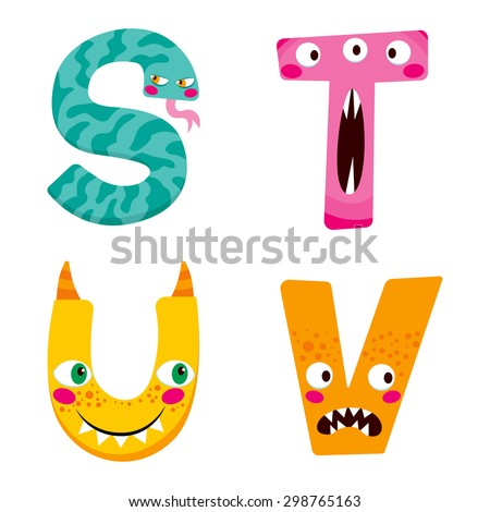 Funny Halloween alphabet with cute s t u v monster characters - stock vector