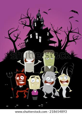 funny halloween background - stock vector