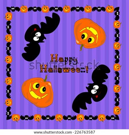 funny Halloween pumpkin and bat. Illustration, vector - stock vector