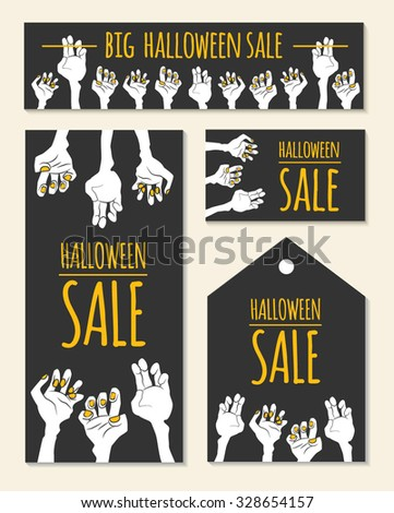 Funny Halloween Sale design with cartoon zombie's hands and pace for text. Vector illustration (eps10, clipping mask). Could be used as template for banner, advertising, flyer, discount card etc. - stock vector