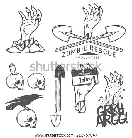 Funny Halloween zombie labels, signs and design elements - stock vector