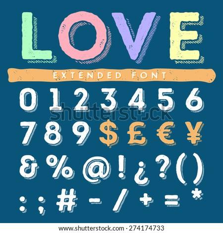 Funny hand drawn alphabet - stock vector