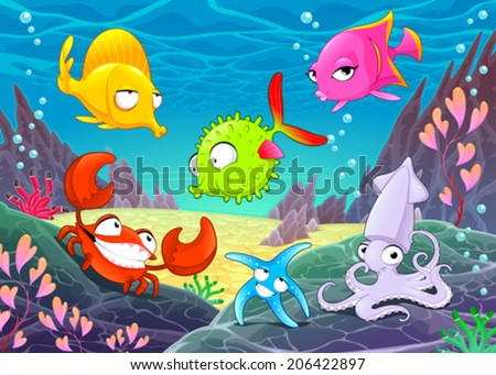 Funny happy animals under the sea. Vector cartoon illustrations - stock vector