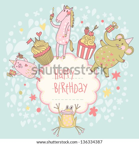 Funny happy birthday card. Cute animals � elephant, pig, horse and frog with tasty cupcakes in vector. Cartoon childish background - stock vector
