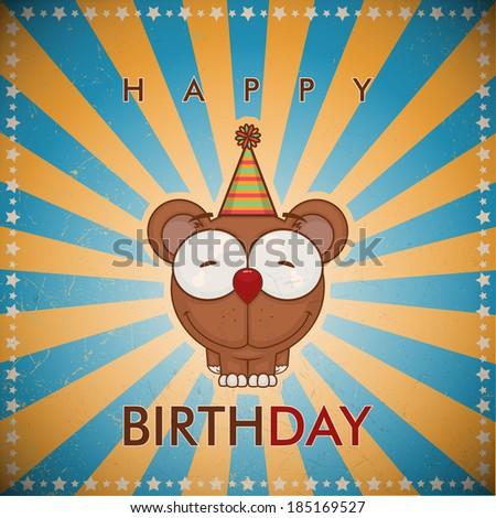 Funny happy birthday greeting card with cute cartoon bear. - stock vector