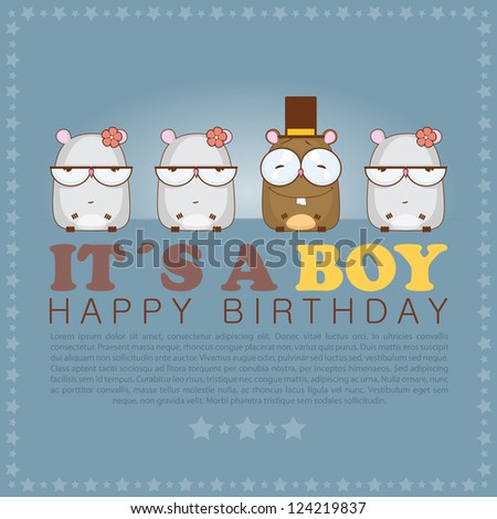 Funny happy birthday greeting card with cute cartoon hamsters. - stock vector
